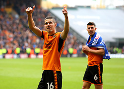 Free to use courtesy of Sky Bet - Conor Coady of Wolverhampton Wanderers celebrates winning promotion to the Premier League - Mandatory by-line: Robbie Stephenson/JMP - 15/04/2018 - FOOTBALL - Molineux - Wolverhampton, England - Wolverhampton Wanderers v Birmingham City - Sky Bet Championship