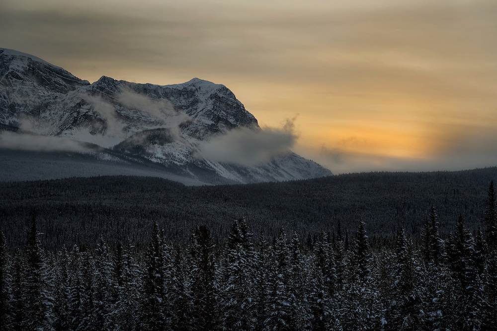 Sunset behind Storm Mountain located above Castle Junction in the Bow River Valley on the border of Banff & Kootenay parks.