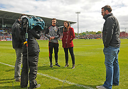 Lee Keegan with RTE Sport&rsquo;s Joanne Cantwell at McHale park on sunday last.<br />