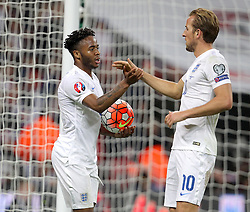 Raheem Sterling ( L ) of England celebrates with Harry Kane after he scores to make it 2-0 - Mandatory byline: Paul Terry/JMP - 07966 386802 - 09/10/2015 - FOOTBALL - Wembley Stadium - London, England - England v Estonia - European Championship Qualifying - Group E