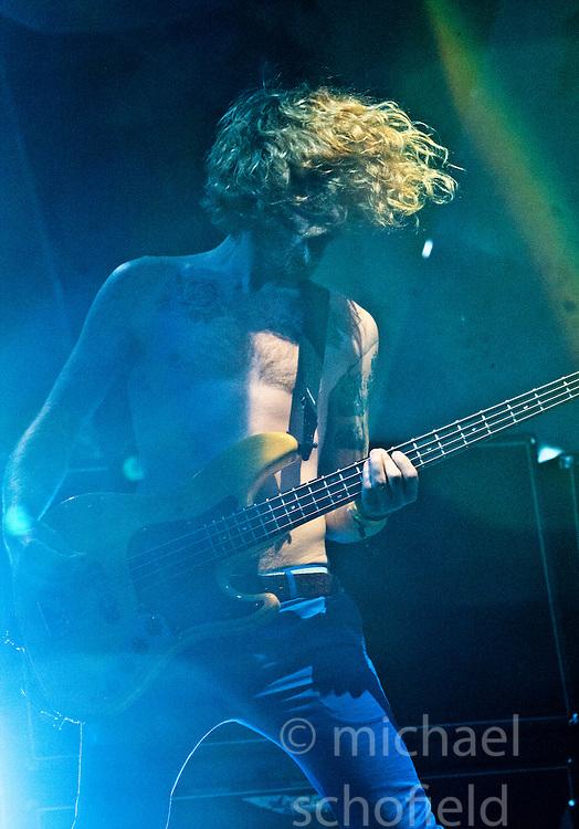 James Johnstone of Biffy Clyro headline Sunday night on the main stage..Sunday at Rockness 2012..©Michael Schofield..
