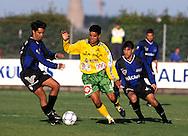 27.08.2000, Kupittaa, Turku.Veikkausliiga, FC Inter v Kotkan TP.Piracaia (KTP) v Gabriel Flores & Fernando Della Sala (Inter).©JUHA TAMMINEN