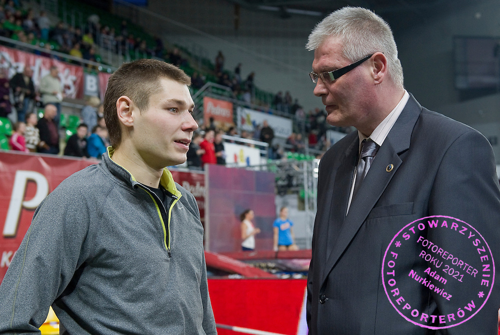 (L) Pawel Wojciechowski of Poland and (R) Miroslaw Chmara during indoor athletics meeting Pedro's Cup 2012 at Luczniczka Hall in Bydgoszcz, Poland.<br /> Miroslaw Chmara is a former pole vaulter from Poland. His personal best jump of 5.90 metres. His personal best was also a Polish record for 23 years. It was beaten by Pawel Wojciechowski who jumped 5.91 in August 2011 in Szczecin.<br /> <br /> Poland, Bydgoszcz, February 8, 2012.<br /> <br /> Picture also available in RAW (NEF) or TIFF format on special request.<br /> <br /> For editorial use only. Any commercial or promotional use requires permission.<br /> <br /> Mandatory credit:<br /> Photo by &copy; Adam Nurkiewicz / Mediasport