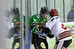 27.02.2015, Hala Tivoli, Ljubljana, SLO, EBEL, HDD Telemach Olimpija Ljubljana vs HC TWK Innsbruck, 6. Qualification Round, in picture Hunter Bishop (HDD Telemach Olimpija, #9) and Florian Stern (HC TWK Innsbruck, #5) during the Erste Bank Icehockey League 6. Qualification Round between HDD Telemach Olimpija Ljubljana and HC TWK Innsbruck at the Hala Tivoli, Ljubljana, Slovenia on 2015/02/27. Photo by Morgan Kristan / Sportida