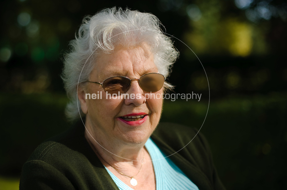Marjorie a local Howden resident enjoys the Ashes Playing Fields , East Yorkshire