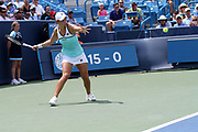 Ashleigh Barty (AUS) returns a serve from Maria Sharapova (RUS) during the Western and Southern Open tennis tournament at Lindner Family Tennis Center, Wednesday, Aug 14, 2019, in Mason, OH. (Jason Whitman/Image of Sport)