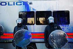FILE PICTURE - Roundup of yesterdays Student protests..© under license to London News Pictures. Police covered in paint during Student protests in London ahead of the vote in parliament (09/12/10). Photo credit should read: Olivia Harris/ London News Pictures