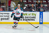 KELOWNA, CANADA - FEBRUARY 2: Matt Barberis #22 of the Kelowna Rockets warms up against the Kamloops Blazers  on February 2, 2019 at Prospera Place in Kelowna, British Columbia, Canada.  (Photo by Marissa Baecker/Shoot the Breeze)