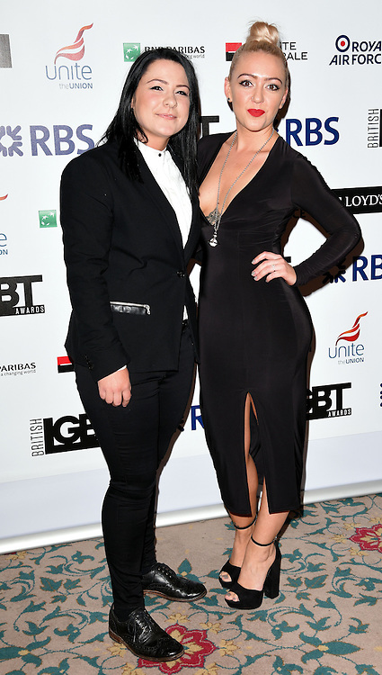 Lucy Spraggan and Georgina Gordon attend The British LGBT Awards at The Landmark Hotel, London on Friday 24 April 2015