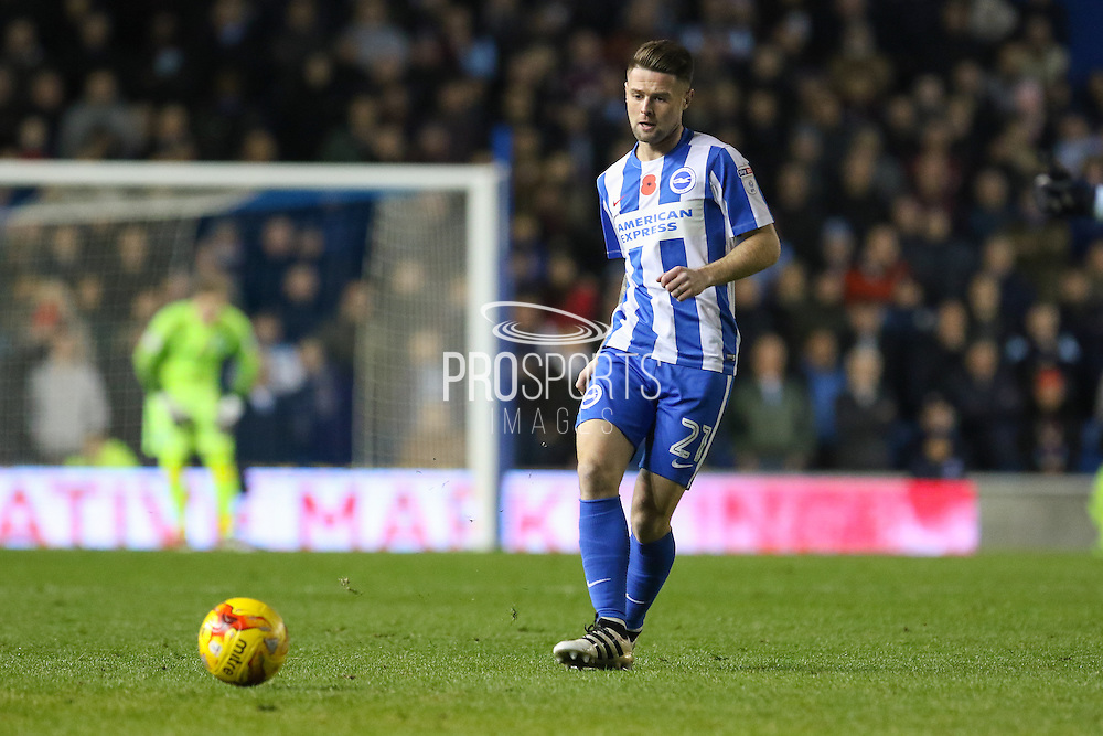 Brighton & Hove Albion midfielder Oliver Norwood (21) during the EFL Sky Bet Championship match between Brighton and Hove Albion and Aston Villa at the American Express Community Stadium, Brighton and Hove, England on 18 November 2016. Photo by Phil Duncan.