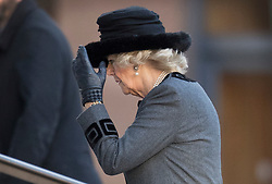 © Licensed to London News Pictures. 14/12/2017. London, UK. Camilla, Duchess of Cornwall, arrives at St Paul's Cathedral for the Grenfell Tower National Memorial Service mark the six month anniversary of the Grenfell Tower fire. The service is attended by survivors and relatives of those who lost their lives in the fire, as well as members of the emergency services and members of the Royal family. 71 people were killed when a huge fire ripped though 24-storey Grenfell Tower block in west London in June 2017. Photo credit: Peter Macdiarmid/LNP