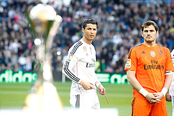 10.01.2015, Estadio Santiago Bernabeu, Madrid, ESP, Primera Division, Real Madrid vs Espanyol Barcelona, 18. Runde, im Bild Real Madrid's Cristiano Ronaldo (l) and Iker Casillas celebrate with the supporters the victory in the FIFA Club World Cup 2014 // during the Spanish Primera Division 18th round match between Real Madrid CF and Espanyol Barcelona at the Estadio Santiago Bernabeu in Madrid, Spain on 2015/01/10. EXPA Pictures &copy; 2015, PhotoCredit: EXPA/ Alterphotos/ Acero<br /> <br /> *****ATTENTION - OUT of ESP, SUI*****
