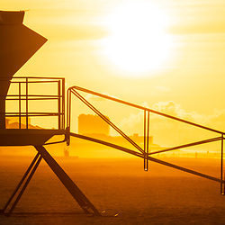 Pensacola Beach Florida lifeguard tower two sunrise panorama photo on Casino Beach. Pensacola Beach is a coastal city on Santa Rosa Island in the Emerald Coast of the Southeastern United States of America. Panoramic ratio is 1:3. Copyright ⓒ 2018 Paul Velgos with All Rights Reserved.