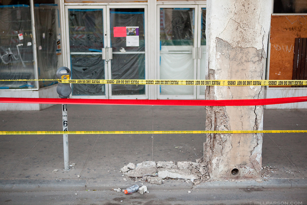 Caution tape lines downtown Calexico, which was behind a police cordon for several days after the earthquake. A group of researchers led by Dr. Benson Shing, Vice Chair of the Department of Structural Engineering at the University of California, San Diego, inspected the earthquake damage in Mexicali, Mexico and Calexico, CA, April 7, 2010. A 7.2 magnitude earthquake in Baja California on Easter Sunday was felt as far away as Los Angeles.