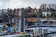 Hammersmith, Greater London, UK., 8th March 2020, view across the Furnival Garden Moorings,  to the ' The Doves Public House, Chiswick Mall, River Thames, [Mandatory Credit: Peter SPURRIER/Intersport Images],