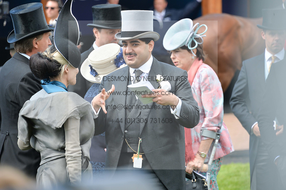DAPHNE GUINNESS and SHEIK HAMAD BIN ABDULLAH AL-THANI at the Investec Derby 2015 at Epsom Racecourse, Epsom, Surrey on 6th June 2015.