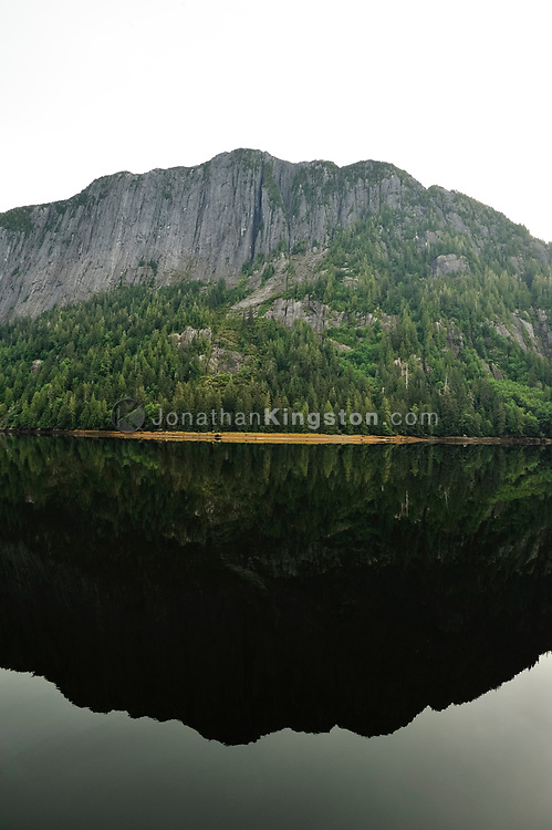 Giant cliffs and conifer trees on the shore of Misty Fjords National monument are reflected in the calm waters of Rudyerd bay, Alaska.