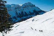 Gef&uuml;hrte Schneeschuhwanderung im Eigenthal am Fuss des Pilatus in Kanton Luzern Schweiz<br /> <br /> Group of snowshoe hikers in the Eigenthal area close to Luzern