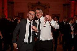 CARDIFF, WALES - Monday, October 5, 2015: Wales' Sion Edwards and father during the FAW Awards Dinner at Cardiff City Hall. (Pic by Ian Cook/Propaganda)