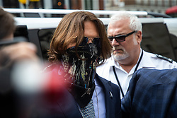 © Licensed to London News Pictures. 24 07 2020. London, UK. Actor JOHNNY DEPP arrives at the high Court in London Johnny Depp is in a legal dispute with The Sun, a  UK tabloid, over allegations he assaulted his former wife, Amber Heard. Photo credit: Paul Davey/LNP