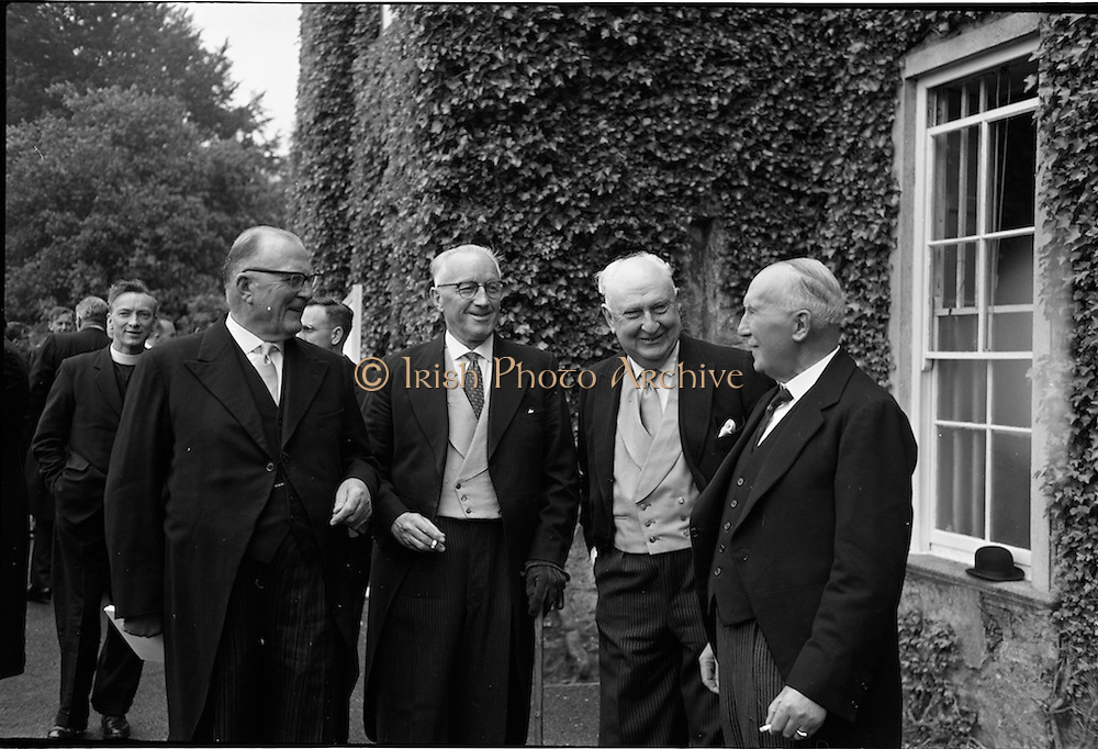 31/05/1964<br /> 05/31/1964<br /> 31 May 1964<br /> Sesquicentenary (150 yrs) celebrations at Clongowes Wood College, Co. Kildare. Chatting before the lunch were (l-r): Dr. George Maguire; Mr. J.B. Moorhead; Commander George Crosbie and Mr. Stanley Ryan.