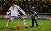 David Omperon watches the moves of Charlie Wakefield during the FA Youth Cup match between U18 AFC Wimbledon and U18 Chelsea at the Cherry Red Records Stadium, Kingston, England on 9 February 2016. Photo by Michael Hulf.