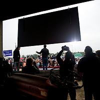 Republican Presidential candidate MITT ROMNEY speaks at a rally in the Harmon Tree Farm.  The South Carolina primary is on 21 January.