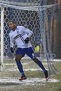 Bury Forward, Leon Clarke peels away after scoring burys second during the Sky Bet League 1 match between Bury and Walsall at Gigg Lane, Bury, England on 16 January 2016. Photo by Mark Pollitt.