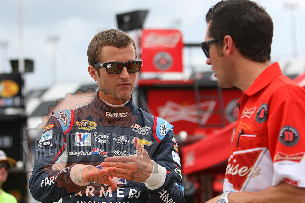 Driver Kasey Kahne is seen during the first practice session of the 56th Annual NASCAR Coke Zero400 race at Daytona International Speedway on Thursday, July 3, 2014 in Daytona Beach, Florida.  (AP Photo/Alex Menendez)