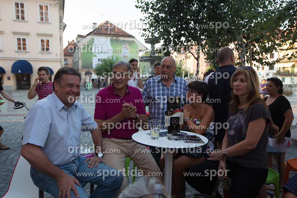 Zoran Jankovic (mayor), Petar Skansi and Ivo Daneu at gathering of golden boys from team Yugoslavia that won World Championship in 1970 before friendly match between National teams of Slovenia and Russia for Eurobasket 2013 on August 18, 2013 in House of Sports, Ljubljana, Slovenia. (Photo by Matic Klansek Velej / Sportida.com)