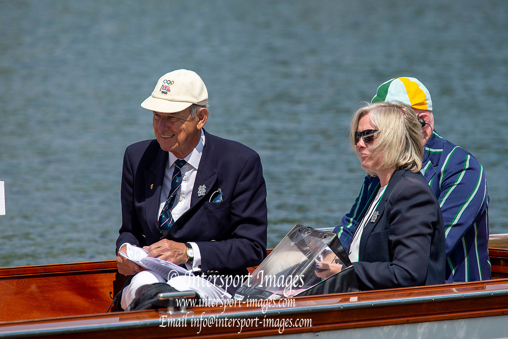 Henley on Thames, England, United Kingdom, 3rd July 2019, Henley Royal Regatta  Time keepers and race officials at the back of the umpires launch, left, Dr Peter THOMAS, Henley Reach, [© Peter SPURRIER/Intersport Image]<br /><br /><br />11:49:02 1919 - 2019, Royal Henley Peace Regatta Centenary,