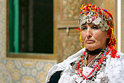 Portrait of Berber singer Sofia at the Telouet Kasbah, High Atlas Mountains, Morocco, 2013-10-10. <br />