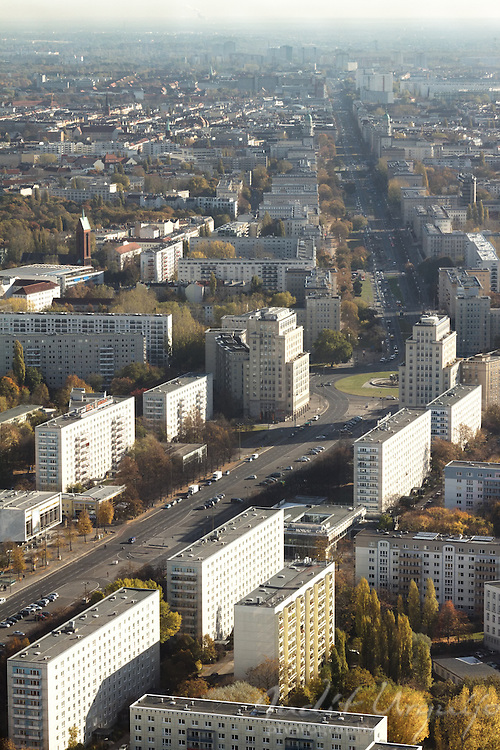 The Karl-Marx-Allee is a monumental socialist boulevard built by the GDR between 1952 and 1960 in Berlin Friedrichshain and Mitte. It is a clear example of Stalinist urban planning