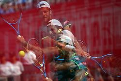 May 6, 2018 - Estoril, Portugal - Joao Sousa of Portugal returns a ball to Frances Tiafoe of US during the Millennium Estoril Open ATP 250 tennis tournament final, at the Clube de Tenis do Estoril in Estoril, Portugal on May 6, 2018. (Joao Sousa won 2-0) (Credit Image: © Pedro Fiuza/NurPhoto via ZUMA Press)