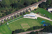 aerial photograph of Copley Cricket Club, Copley, Halifax, West Yorkshire showing the new Pavillion