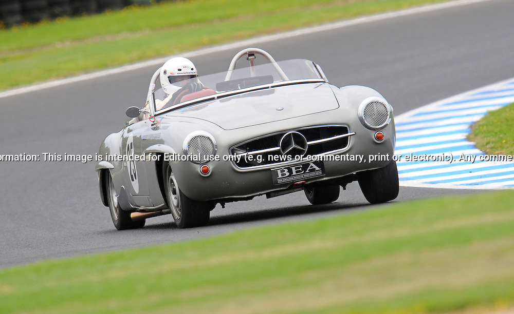 Brent Cooper - Mercedes 190 SL.Historic Motorsport Racing - Phillip Island Classic.18th March 2011.Phillip Island Racetrack, Phillip Island, Victoria.(C) Joel Strickland Photographics.Use information: This image is intended for Editorial use only (e.g. news or commentary, print or electronic). Any commercial or promotional use requires additional clearance.