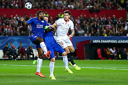 Stevan Jovetic of Sevilla is challenged by Wes Morgan of Leicester City - Rogan Thomson/JMP - 22/02/2017 - FOOTBALL - Estadio Ramon Sanchez Pizjuan - Seville, Spain - Sevilla FC v Leicester City - UEFA Champions League Round of 16, 1st Leg.