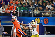 Clemson Tigers wide receiver Derion Kendrick (10) goes up for a one handed catch while being defended by Notre Dames Julian Love (27) during the NCAA Cotton Bowl semi-final playoff football game, Saturday, Dec. 29, 2018, in Arlington, Texas. Clemson defeated Notre Dame 30-3 to advance to the College Football Playoff national Championship. (Mario Terrana/Image of Sport via AP)