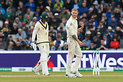 Ben Stokes of England shakes his left hand as he walks off the field to the England dressingroom after picking up an injury while bowling during the International Test Match 2019, fourth test, day two match between England and Australia at Old Trafford, Manchester, England on 5 September 2019.