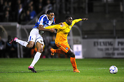 Cristian Montano of Bristol Rovers jostles for the ball with Aaron Pierre of Wycombe Wanderers - Mandatory byline: Dougie Allward/JMP - 07966 386802 - 06/10/2015 - FOOTBALL - Memorial Stadium - Bristol, England - Bristol Rovers v Wycombe Wanderers - JPT Trophy