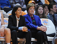 Jan 5, 2012; Knoxville, TN, USA; Tennessee Lady Volunteers assistant coach Mickie DeMoss and head coach Pat Summitt during the game against Georgia at Thompson Boling Arena. Tennessee won 80-51. Mandatory Credit: Randy Sartin-US PRESSWIRE