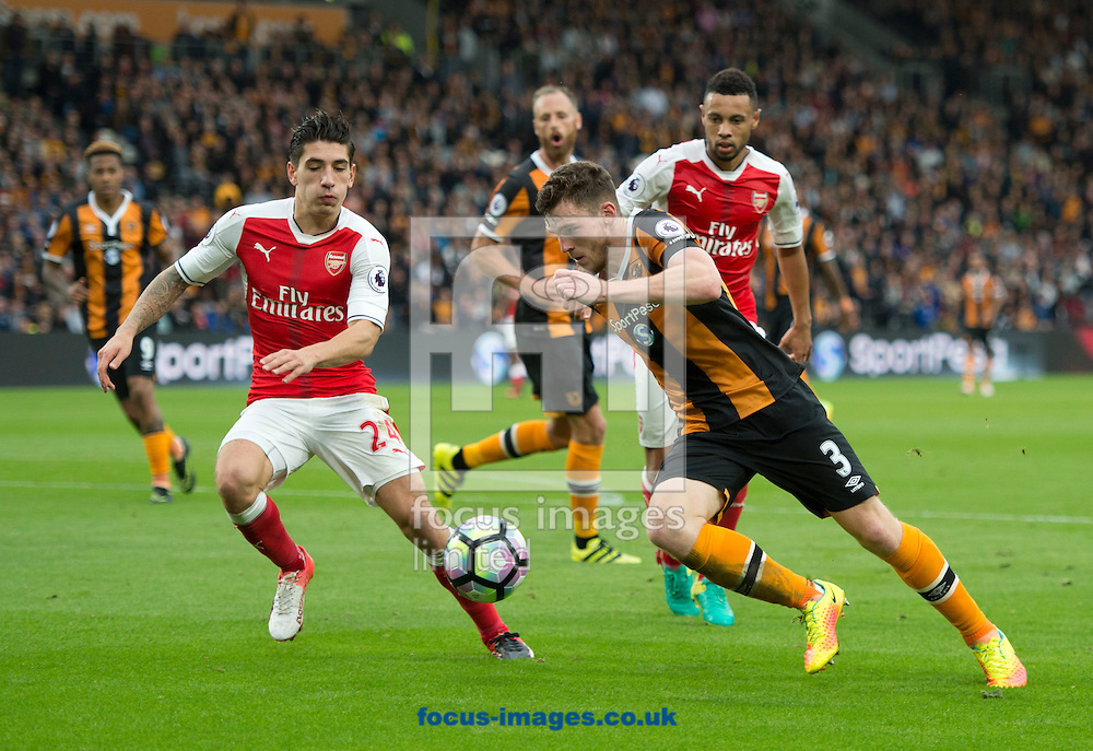 Andrew Robertson of Hull City looks to cross the ball during the Premier League match at the KCOM Stadium, Hull<br /> Picture by Russell Hart/Focus Images Ltd 07791 688 420<br /> 17/09/2016