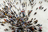 Egypt . Cairo :Egypt . Cairo : crowd of muslims men going out of  al Azhar mosque after Friday prayer in islamic Cairo