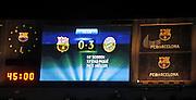 01.05.2013, Fussball Champions League Halbfinale Rückspiel: FC Barcelona - FC Bayern München, im Stadion Nou Camp in Barcelona, Spanien. Das Endergebnis 0:3 steht auf der Anzeigetafel.
