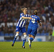 Brighton and Hove Albion Women's midfielder Jay Blackie scores and celebrates giving Brighton a 1-0 lead during the FA Women's Premier League match between Brighton Ladies and Charlton Athletic WFC at the American Express Community Stadium, Brighton and Hove, England on 6 December 2015.