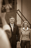 Former Ambassador to China and former Utah Gov. Jon Huntsman and his wife Mary Kaye greets supporters after filing papers with the NH Secretary of State to be on the ballot for the NH presidential primary. 17th of October 2011