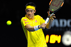 October 29, 2016 - Basel, Basel, Switzerland - Kei Nishikori (JPN) during a match against Gilles Muller (LUX) in the semi-finals of the Swiss Indoors at St. Jakobshalle in Basel, Switzerland on October 29, 2016. (Credit Image: © Miroslav Dakov/NurPhoto via ZUMA Press)