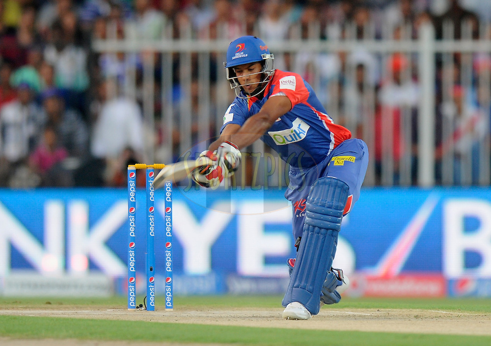 Mayank Agarwal of the Delhi Daredevils bats during match 2 of the Pepsi Indian Premier League Season 7 between the Delhi Daredevils and The Royal Challengers Bangalore held at the Sharjah Cricket Stadium, Sharjah, United Arab Emirates on the 17th April 2014<br /> <br /> Photo by Pal Pillai / IPL / SPORTZPICS
