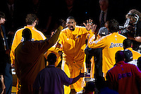 17 June 2010: Forward Ron Artest of the Los Angeles Lakers is introduced during player introductions before playing against the Boston Celtics before the Lakers 83-79 championship victory over the Celtics in Game 7 of the NBA Finals at the STAPLES Center in Los Angeles, CA.