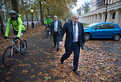 © Licensed to London News Pictures. 15/11/2017. London, UK.  Foreign Secretary Boris Johnson walks to Whitehall ahead of a meeting with Richard Ratcliffe.  Mr Ratcliffe's wife, Nazanin Zaghari-Ratcliffe, is currently serving a five-year prison sentence after being arrested at Tehran airport in April 2016 as she attempted to return home from a visit to see her family. Her sentence may be increased after Foreign Secretary Boris Johnson mistakenly said she was in Iran to train journalists. Photo credit: Peter Macdiarmid/LNP